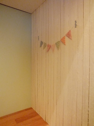 New wood panelling and bunting