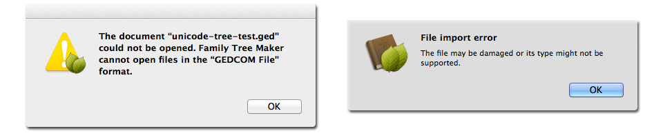 Family Tree Maker 2010 for Mac (Left) and Family Tree Maker for Mac 2 Rejecting Unicode GEDCOM Files