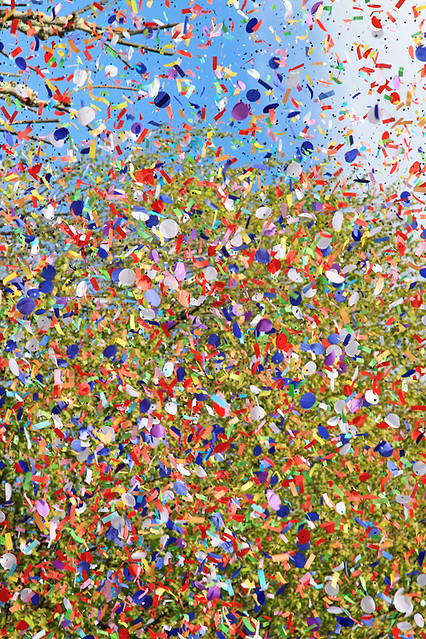 Confetti canons at the Carnaval in Aix-en-Provence, France