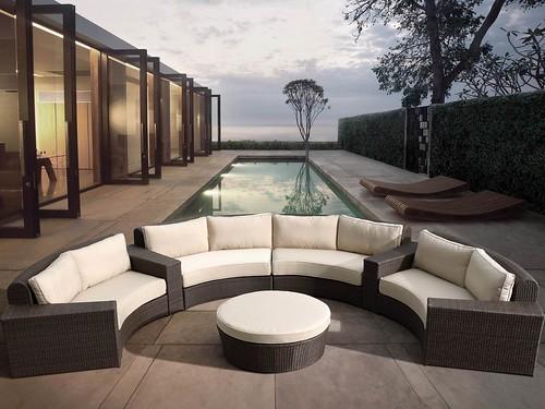 modern outdoor furniture in garden