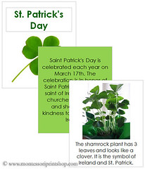 St. Patrick's Day Cards and Booklet (Image from Montessori Print Shop)