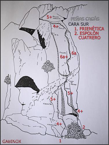PEÑAS CAGAS CROQUIS FRIENETICA Y ESPOLÓN CUATRERO