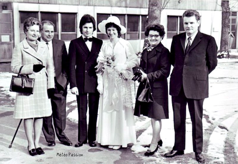 mariage à Vitry-sur-Seine par la neige et le froid du 6 mars 1971 météopassion