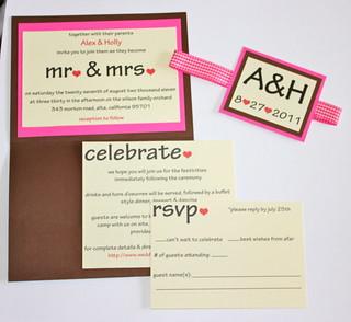 Brown & Fuchsia Wedding Invites