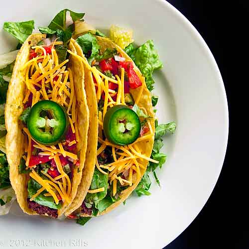 Tacos on Plate, Overhead View