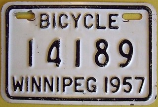 WINNIPEG MANITOBA 1957 ---BICYCLE PLATE
