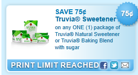 Truvia Natural Sweetener Or Truvia Baking Blend With Sugar  Coupon