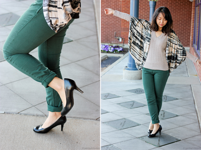green pants and heels