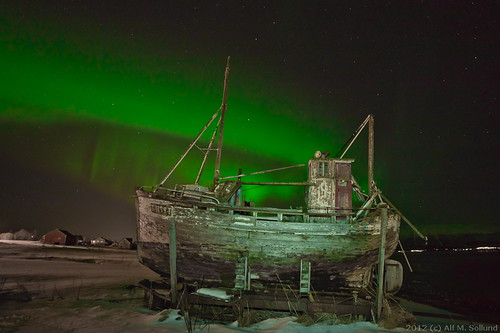 Old boat under Aurora Borealis II