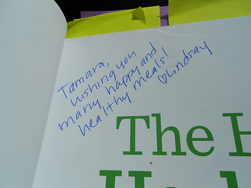 Happy Herbivore Cookbook inscription