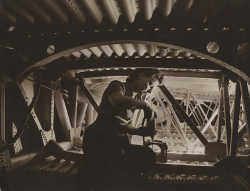 [Woman working on wing section, Boeing Aircraft Company]