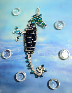 Blue Agate Slice Wire Wrapped Seahorse Pendant