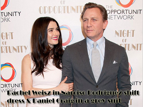 Rachel Weisz in Narciso Rodriguez shift dress & Daniel Craig in a grey suit