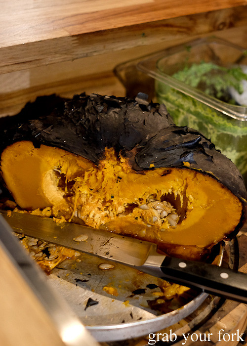 Whole wood roasted blackened pumpkin at Pazar Food Collective, Canterbury
