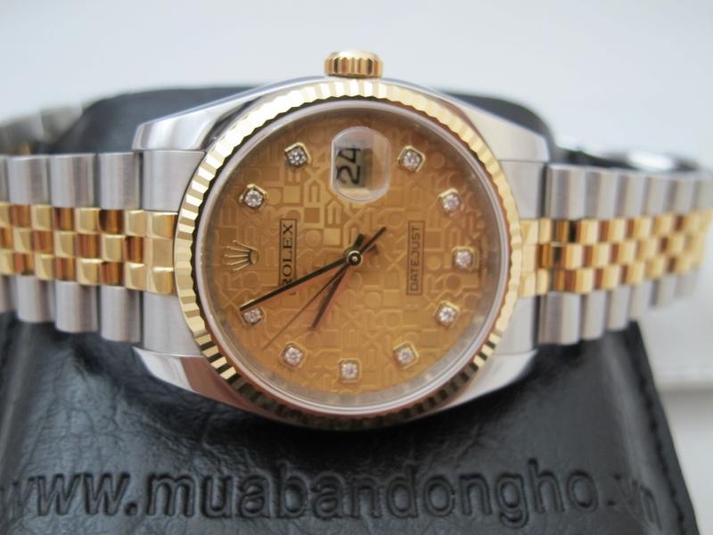 Bán đồng hồ rolex datejust 6 số 116233 – mặt vi tính xoàn – đè mi vàng – size 36