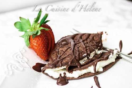 Chocolate Crêpes with Creme Chantilly
