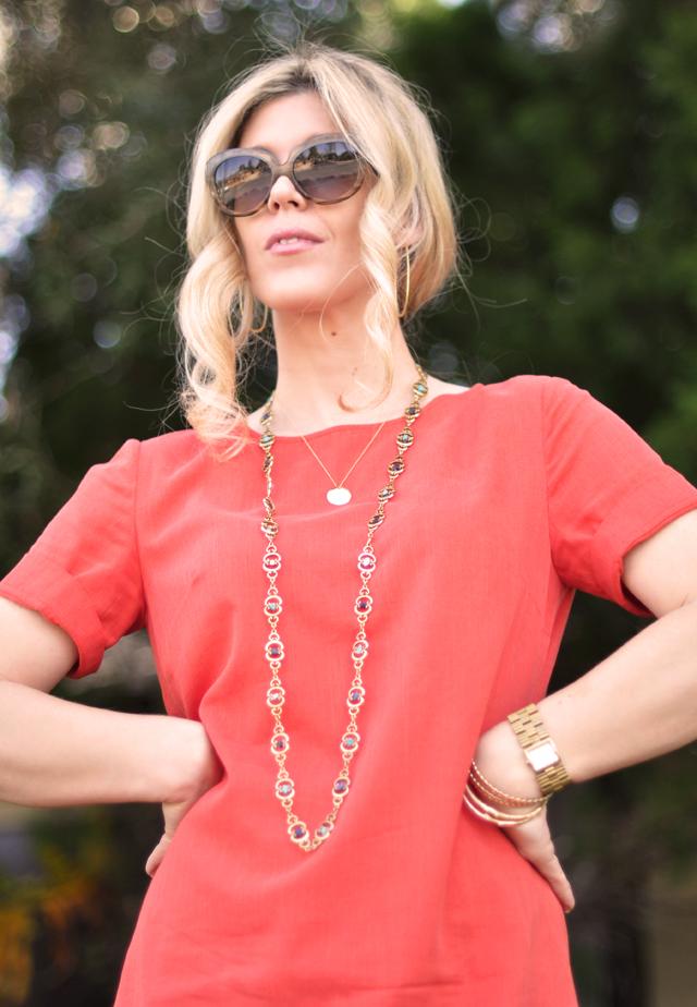tangerine dress - lumete sunglasses-vintage necklace