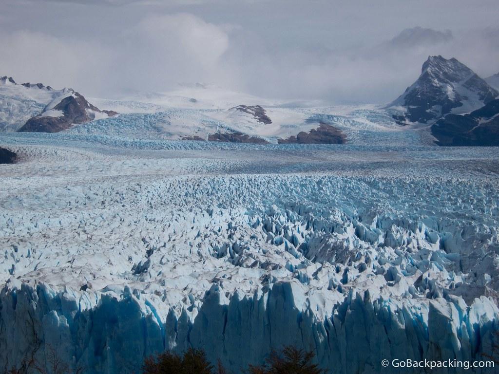 Perito Moreno Glacier extends down from the Southern Ice Field