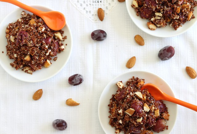 Lemon quinoa with roasted grapes