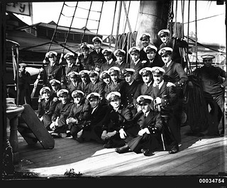 Officers on the deck of the Chilean naval vessel GENERAL BAQUEDANO, July 1931