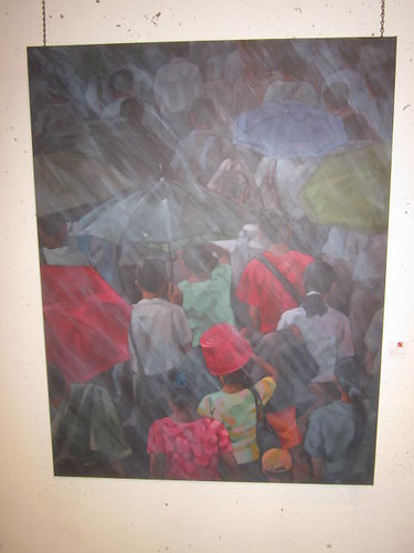 Khin Zau Latt, painting in the rain
