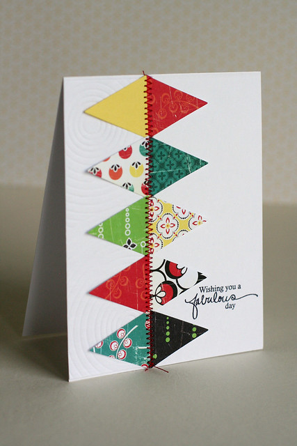 Triangle zig zag sewing birthday card papertrey ink