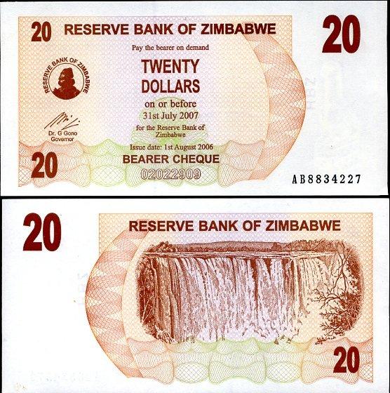 20 Dolárov Zimbabwe 2006, Pick 40
