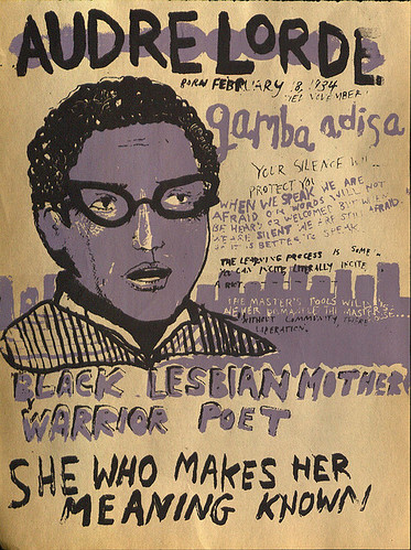 an illustration of Audre Lorde with painted text on a gold background, including her date of birth, death date, and quotations