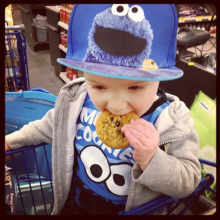 The cookie monster hard at work!