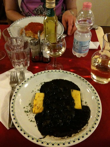 Venetian cuttlefish in ink with polenta at Osteria alle Botteghe