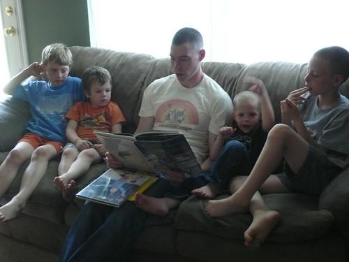 Greg reading to the children
