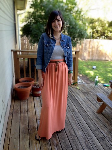 salmon maxi skirt
