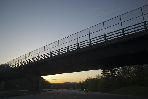 road new bridge blue england sky mountain silhouette fence golden evening spring highway dusk newhampshire nh chain bow link interstate railing 93 distant