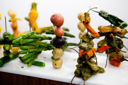 Skewered asparagus, jalapeno peppers, mini new potatoes