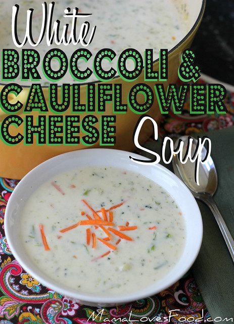 White Broccoli and Cauliflower Cheese Soup