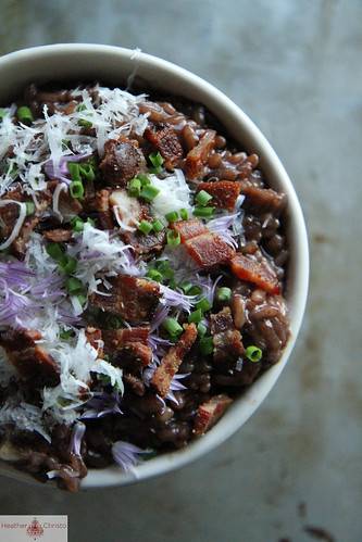 Red Wine Risotto with Bacon and Red Onion