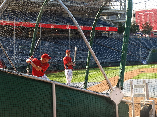 Strasburg in batting practice