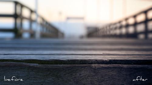 wood morning bridge pink blue winter sky color colour architecture sunrise season landscape dawn pier technology bokeh object kultur jahreszeit culture rosa himmel technik schild edge architektur environment after material danach blau holz landschaft farbe behindthescenes sonnenaufgang morgen kante beforeafter umwelt vorher davor bruecke seebruecke befor objekt timeofday tageszeit zeitpunkt hinterher petervonseth