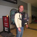 Simon making my bag look tiny.... but saying it was heavy enough :). Toronto Airport
