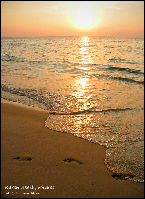 Footprints on the beach at Sunset