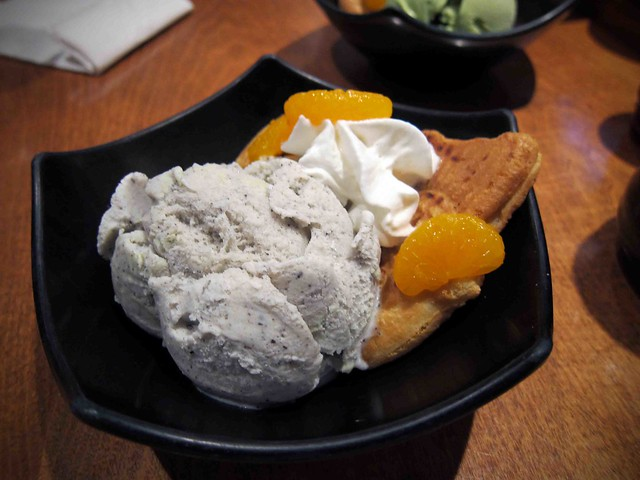 sesame ice cream with red bean cake