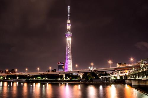 無料写真素材, 建築物・町並み, 塔・タワー, 夜景, 風景  日本, 日本  東京, 東京スカイツリー