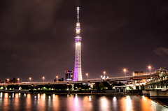 [Free Images] Architecture, Towers, Night View, Landscape - Japan, Japan - Tokyo, Tokyo Sky Tree ID:201205312000