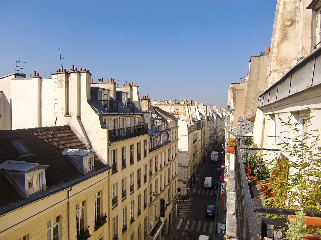 View from the balcony of an apartment in the Rue de Clery, Paris
