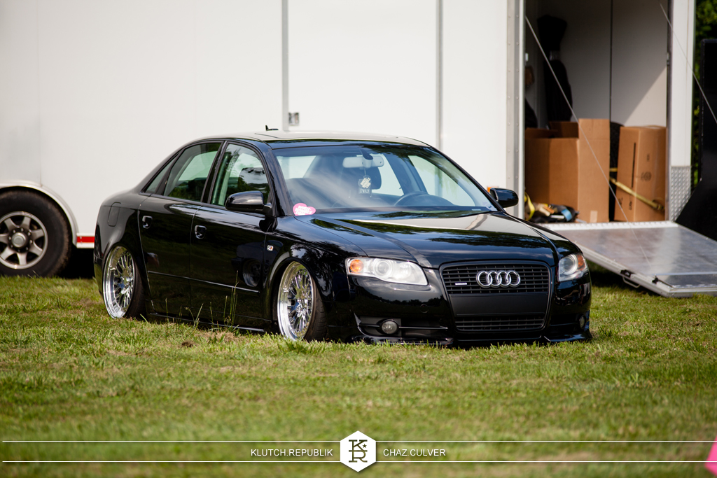 black b8 audi a4 on airride with full polish ccw classics at southern worthersee 2012