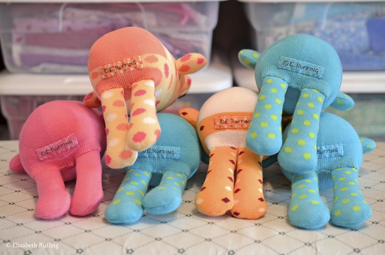 Hug Me Sock Toads signed on the bottom, original art toys by Elizabeth Ruffing