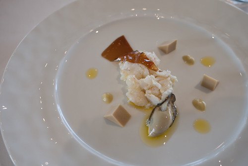 Spanner crab with smoked oyster, foie gras triangles, Pedro Xeminez jelly at The Source, Mona