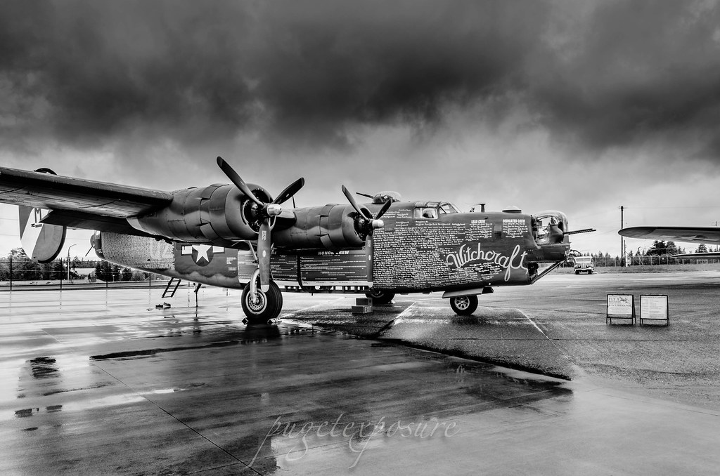 "Black & White portrait of B-24J ""Witchcraft"""