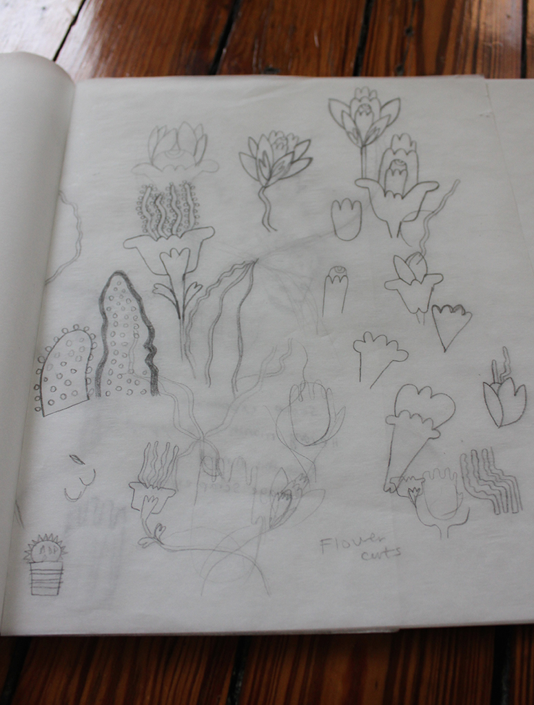 My studio: Sketch for a new embroidery