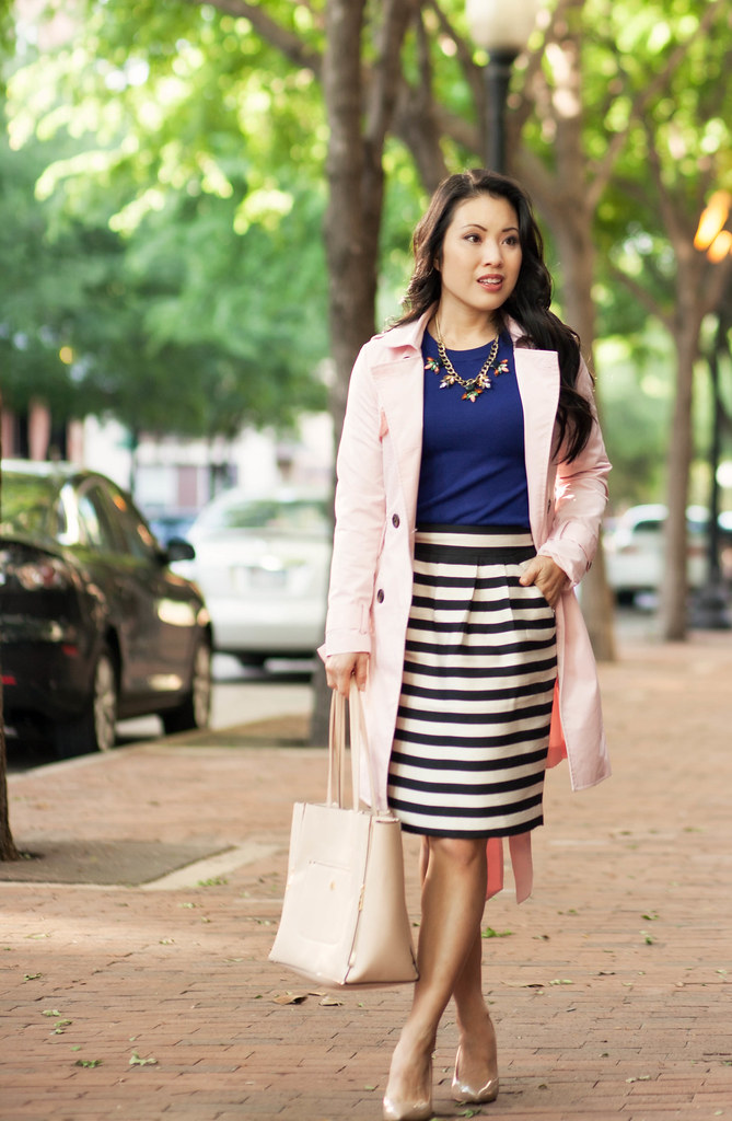 cute & little blog | petite fashion | pink trench, navy sweater, black white striped pencil skirt, statement necklace | spring outfit